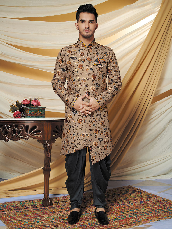 Wedding wear brown printed cotton silk indo western?imgeng=w_400