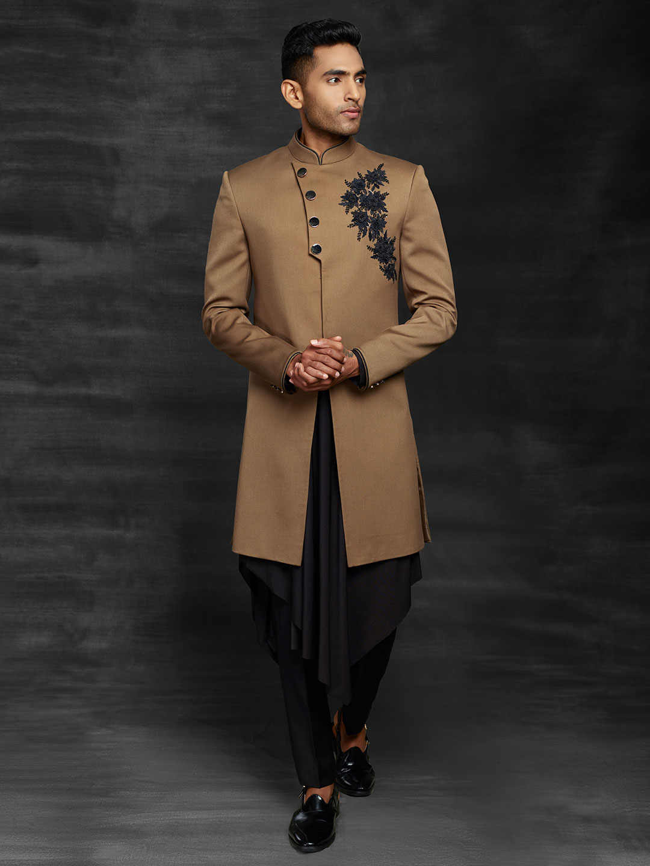 Wedding wear brown terry rayon indo western?imgeng=w_400