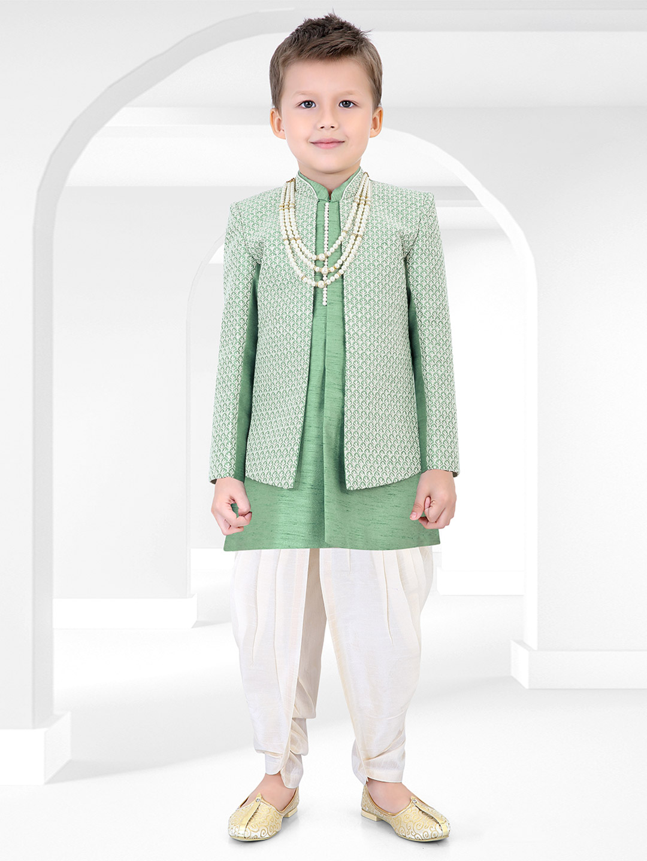 Wedding wear chinese neck green indo western?imgeng=w_400