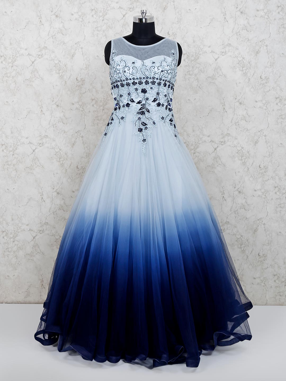 Wedding wear floor length navy gown in net?imgeng=w_400