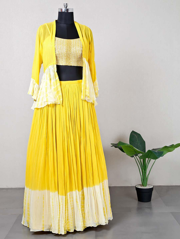 Wedding wear jacket style yellow lehenga?imgeng=w_400