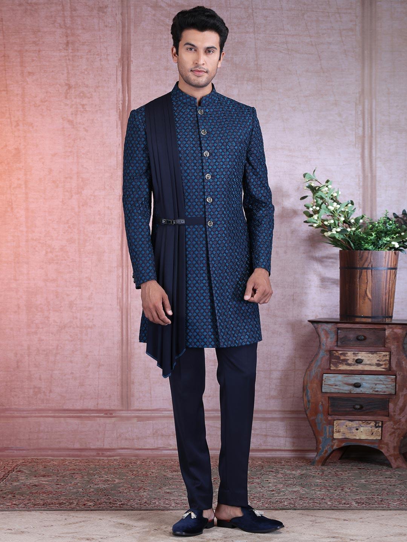 Wedding wear navy silk indo western for men?imgeng=w_400