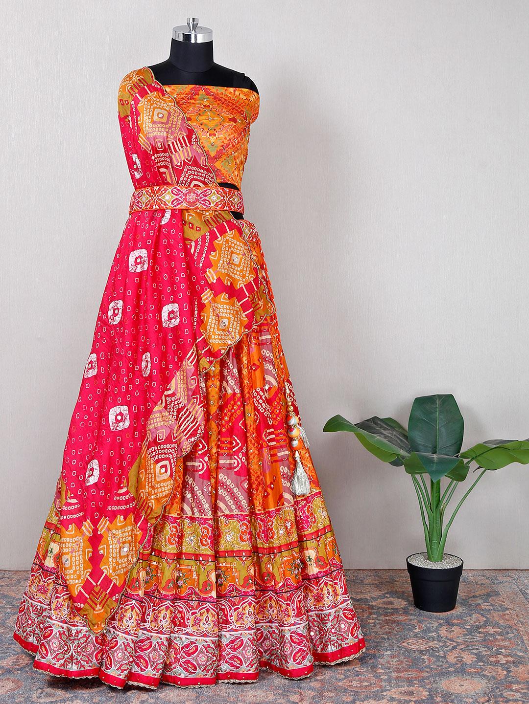 Wedding wear orange cotton silk unstitched lehenga choli?imgeng=w_400