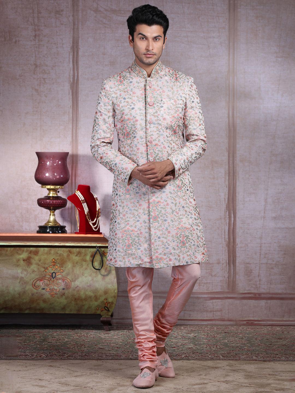 Wedding wear pink raw silk indo western?imgeng=w_400