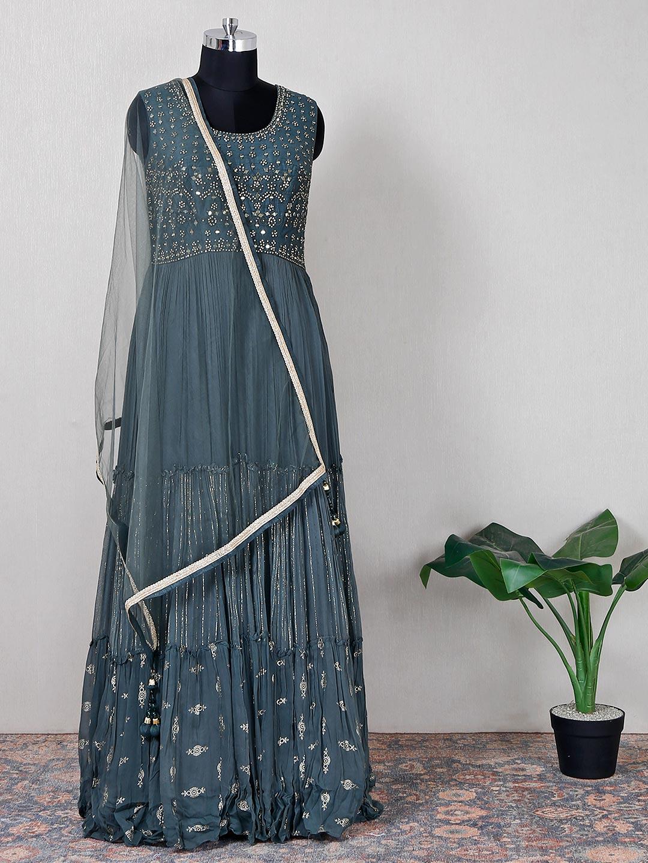Wedding wear raw silk dark grey anarkali suit?imgeng=w_400