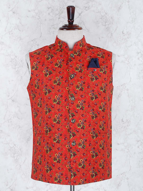 Wedding wear red hue terry rayon waistcoat?imgeng=w_400