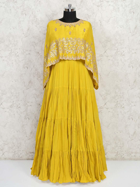 Wedding wear yellow georgette gown?imgeng=w_400