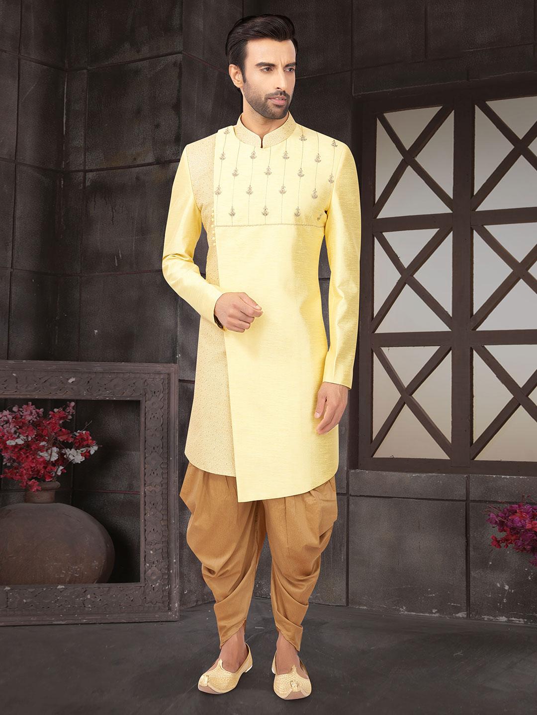 Wedding wear yellow mens raw silk indo western?imgeng=w_400