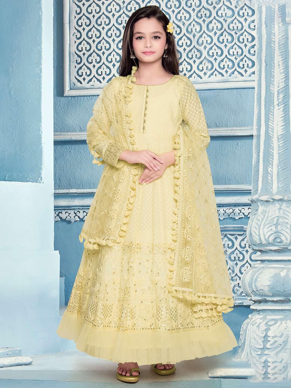 Wedding yellow designer cotton silk anarkali suit?imgeng=w_400