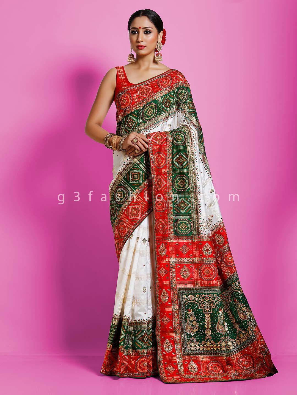 White and green hydrabadi patola silk wedding saree?imgeng=w_400