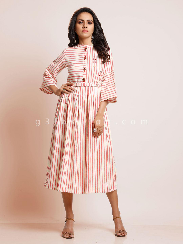 White and pink striped cotton kurti?imgeng=w_400