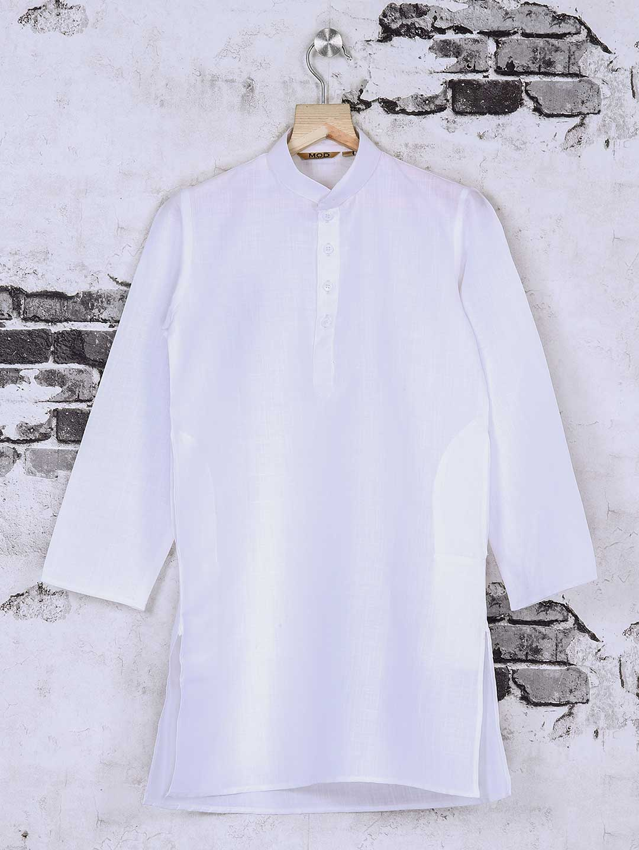 White solid cotton fabric kurta suit?imgeng=w_400