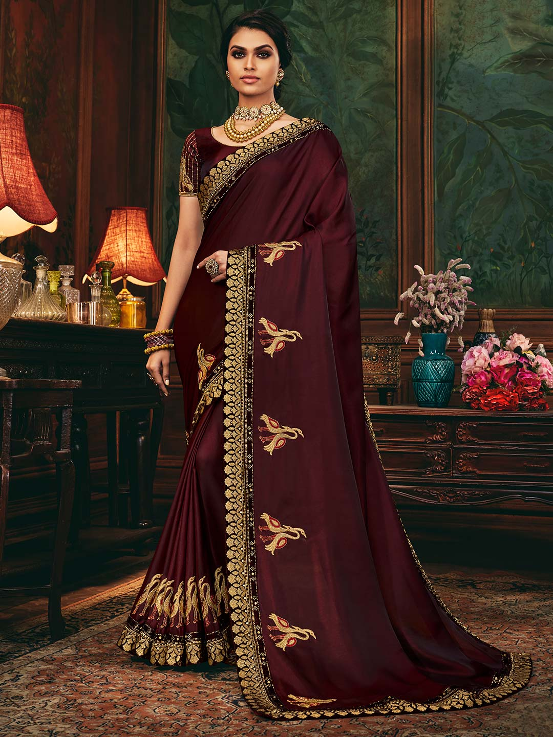 Wine colored satin saree for festive look?imgeng=w_400