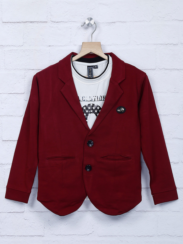 Wine maroon cotton fabric party blazer?imgeng=w_400