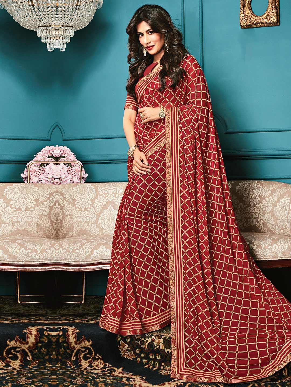 Wonderful maroon printed georgette saree for festive?imgeng=w_400