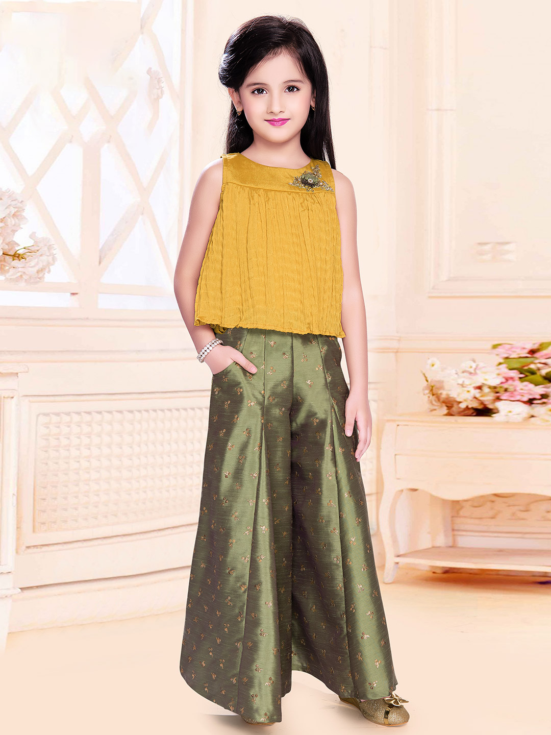Yellow and olive party wear palazzo style suit?imgeng=w_400