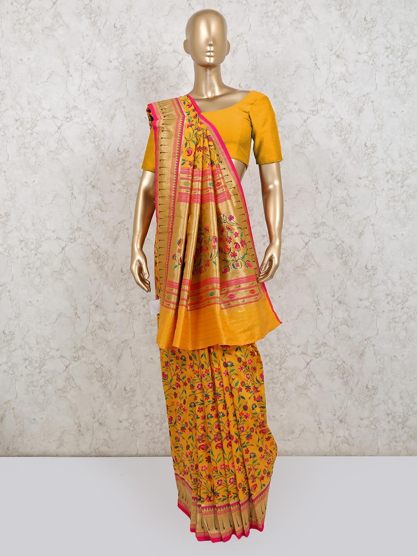 Yellow banarasi silk saree for wedding season?imgeng=w_400