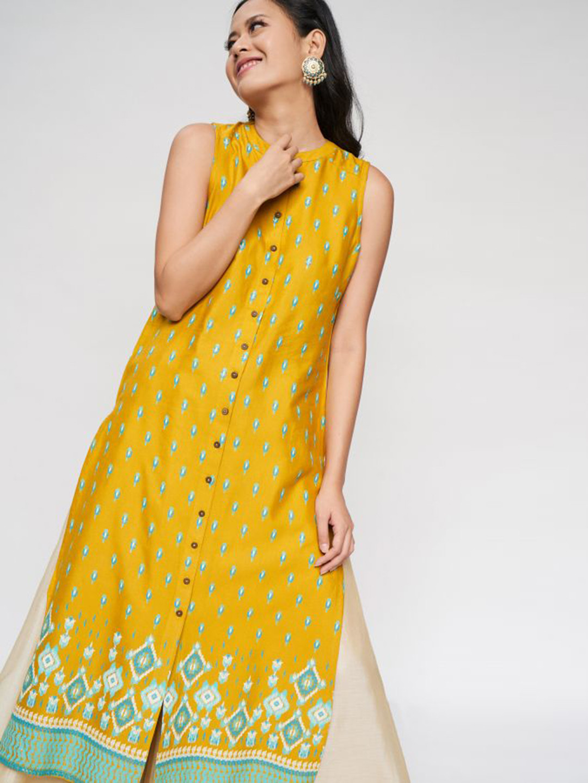 Yellow casual wear kurti in cotton?imgeng=w_400