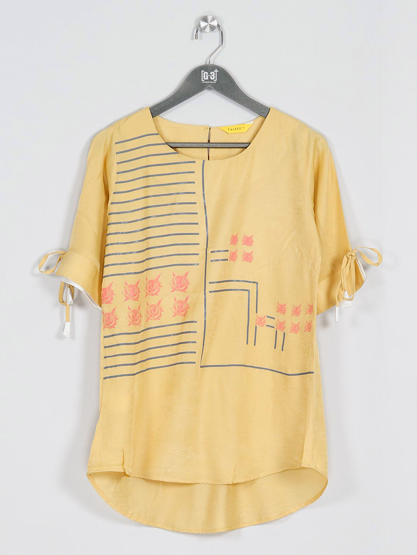 Yellow cotton casual top for women?imgeng=w_400