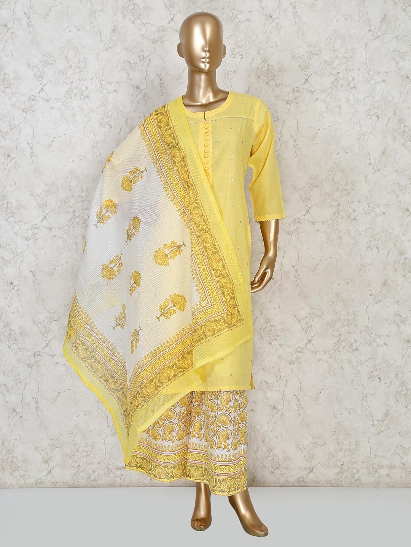 Yellow cotton festive punjabi palazzo suit?imgeng=w_400