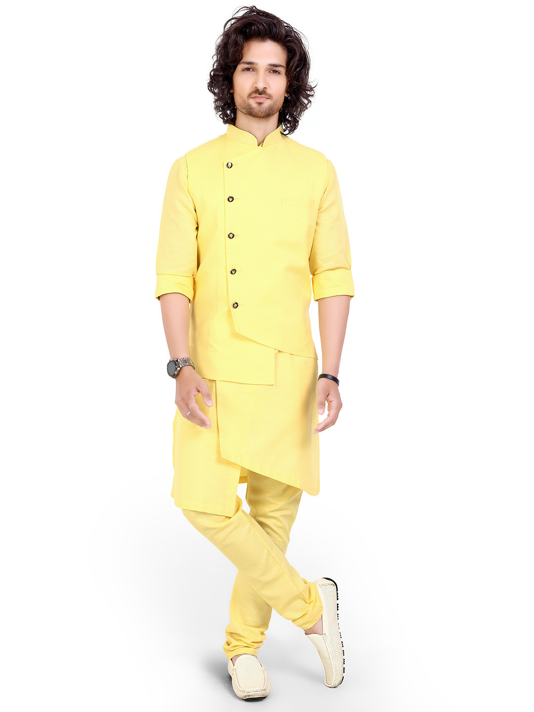 yellow cotton party function mens waistcoat set?imgeng=w_400