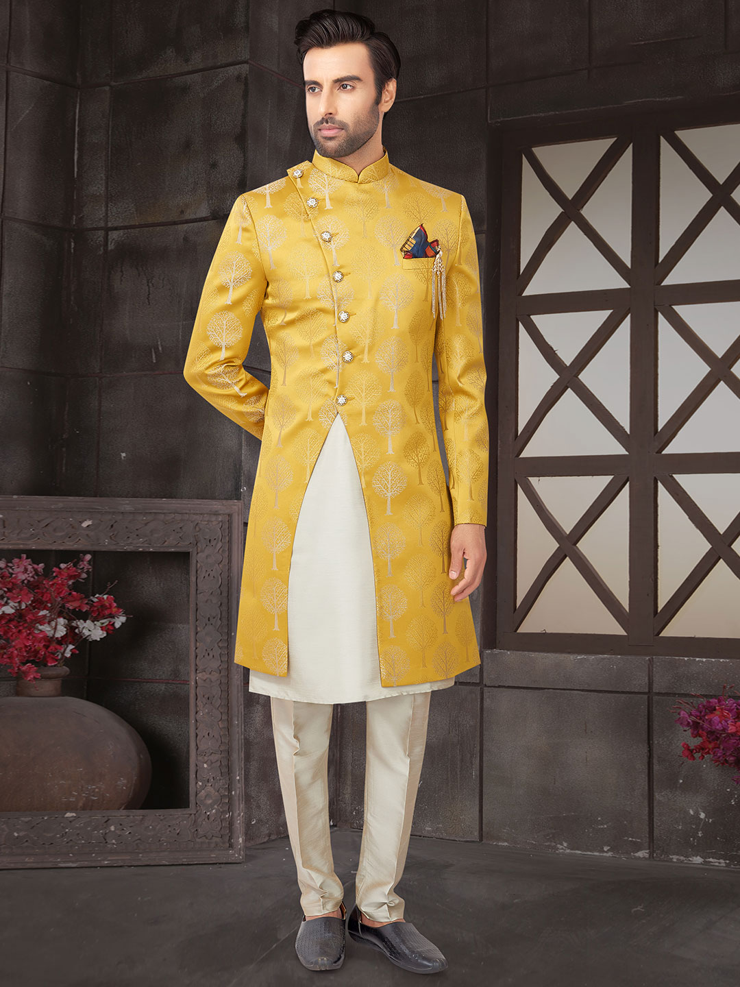 Yellow cotton silk double layer mens indo western in cotton silk?imgeng=w_400