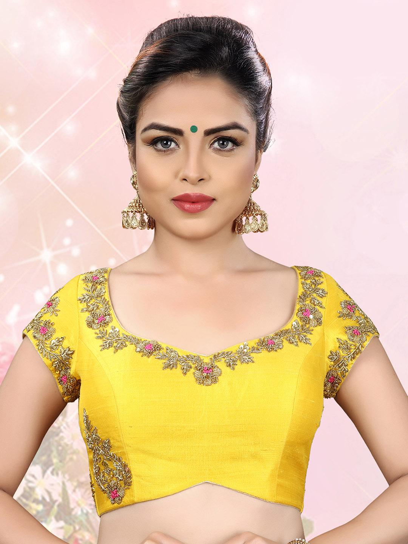 Yellow designer ready made blouse?imgeng=w_400