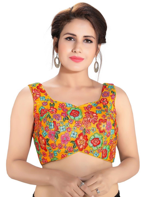 Yellow designer readymade blouse in raw silk?imgeng=w_400