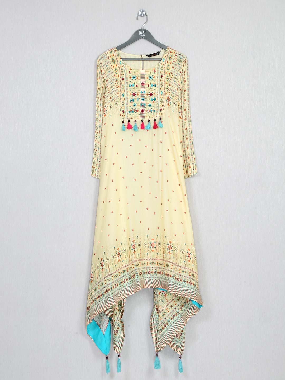 Yellow festive special wear cotton kurti?imgeng=w_400