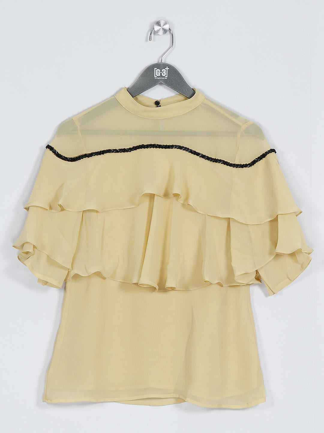 Yellow georgette casual top for women?imgeng=w_400