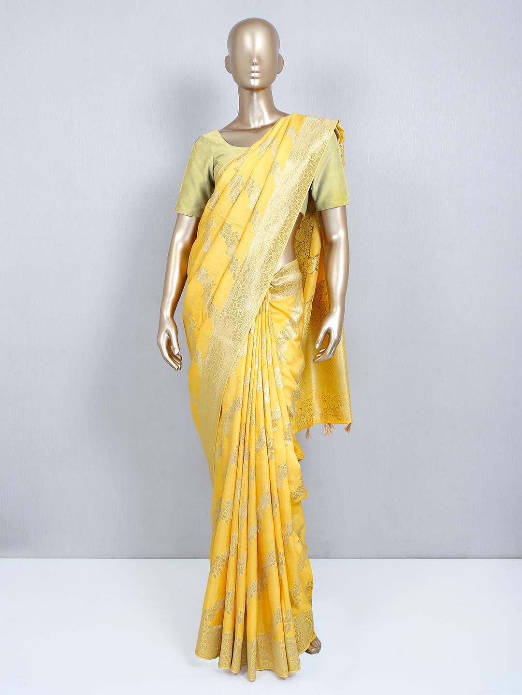 Yellow muga silk designer wedding wear saree?imgeng=w_400