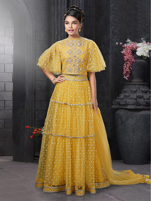 Yellow net lehenga choli for girls?imgeng=w_400