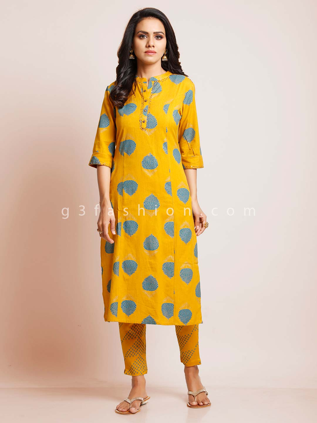 Yellow palazzo suit for festive in cotton?imgeng=w_400