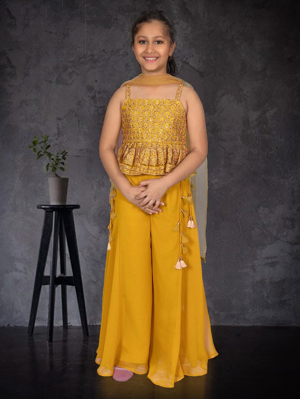 Yellow punjabi palazzo set for girls in georgette?imgeng=w_400