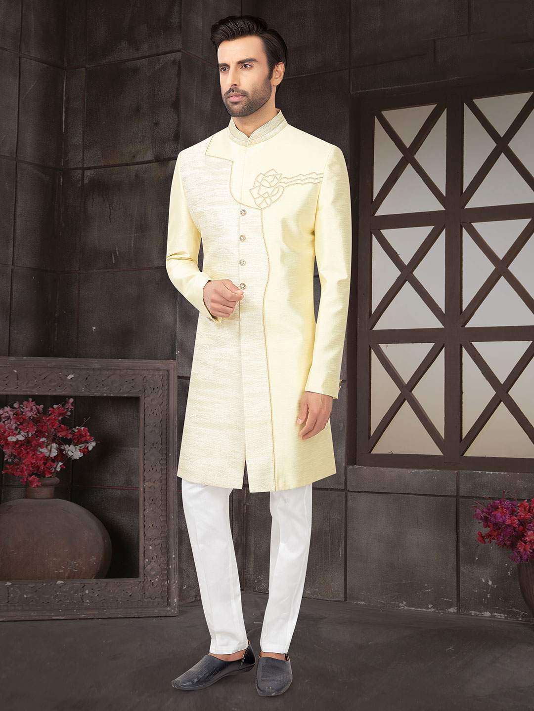 Yellow raw silk indo western for wedding?imgeng=w_400
