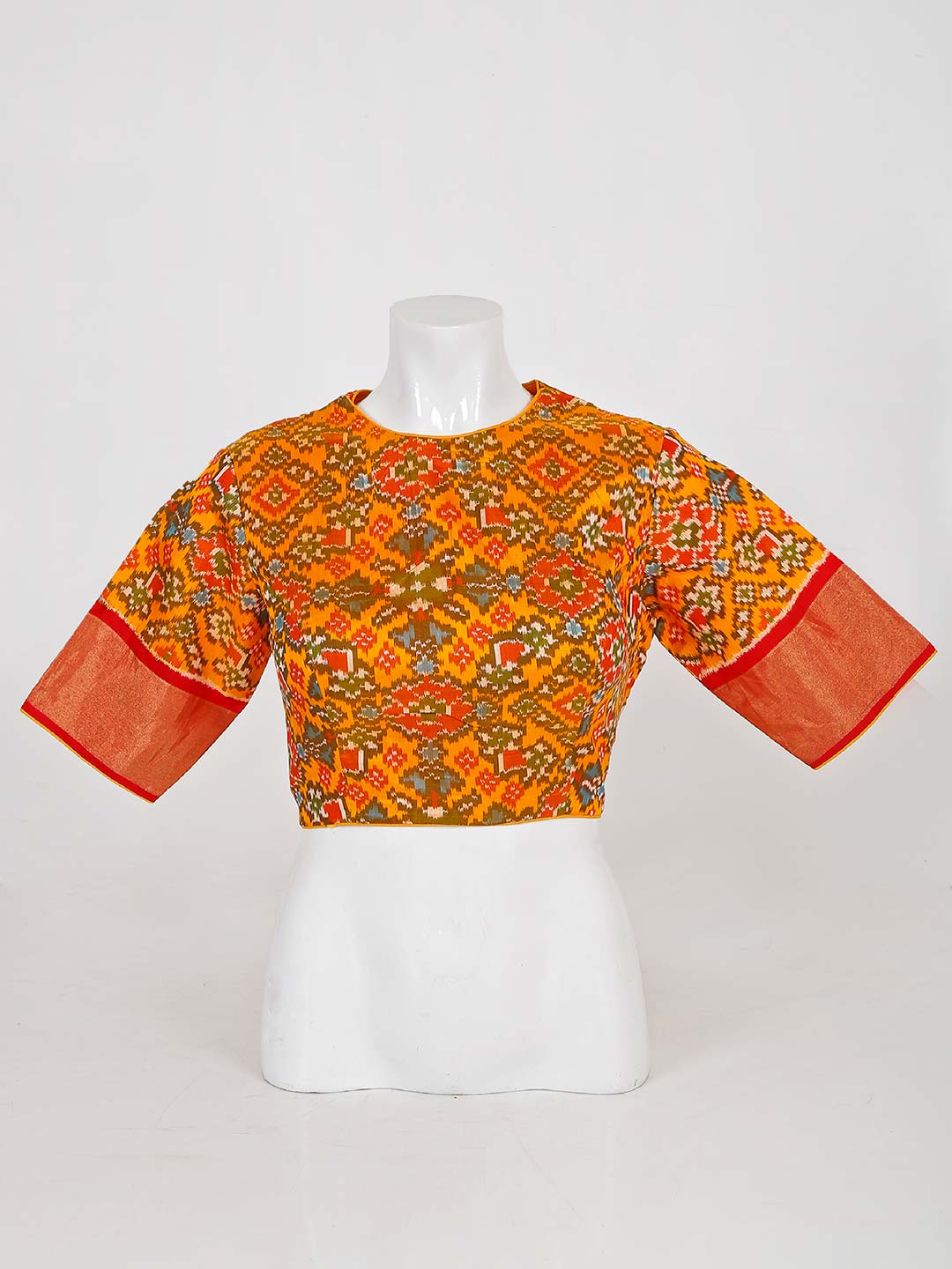 Yellow readymade blouse in patola silk for wedding?imgeng=w_400
