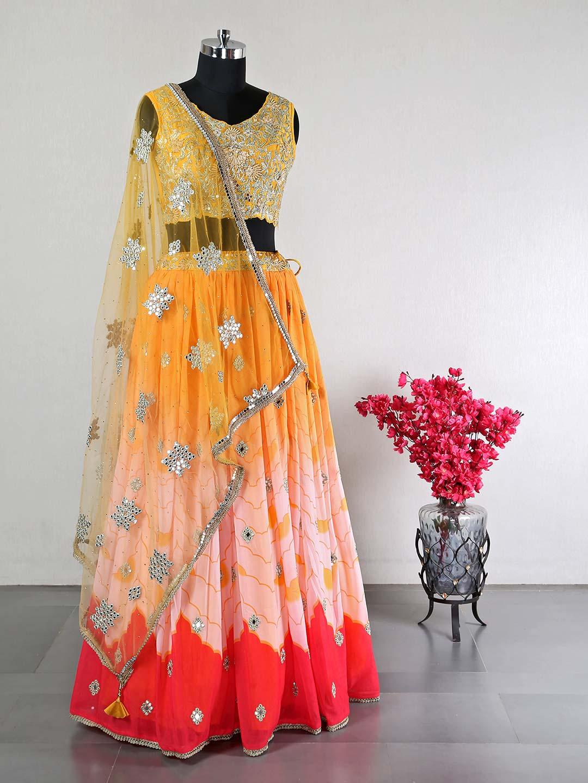 Yellow silk lehenga for women?imgeng=w_400