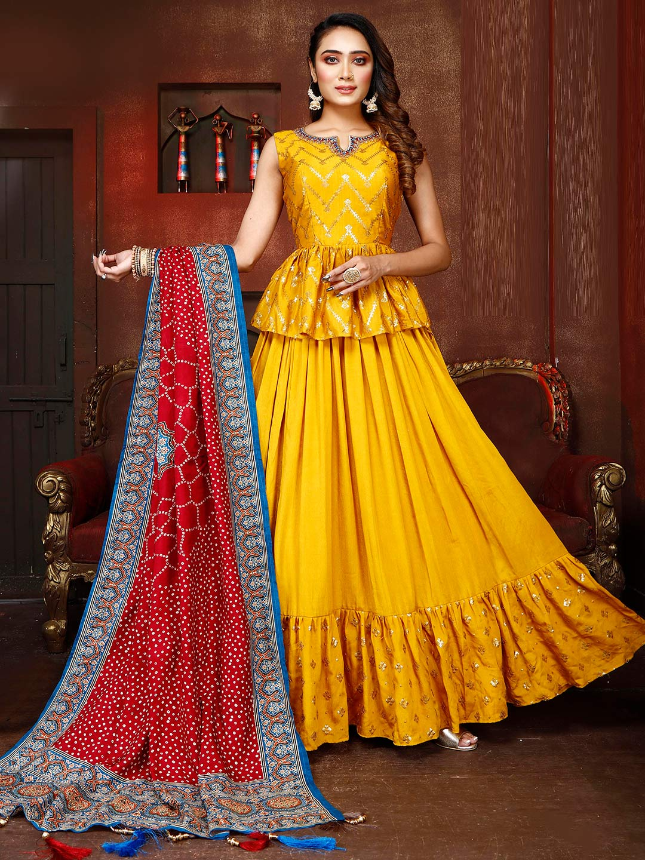 Yellow silk wedding ceremony lehenga choli?imgeng=w_400