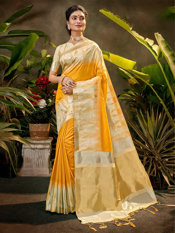 Yellow zari emebellish silk saree for party?imgeng=w_400