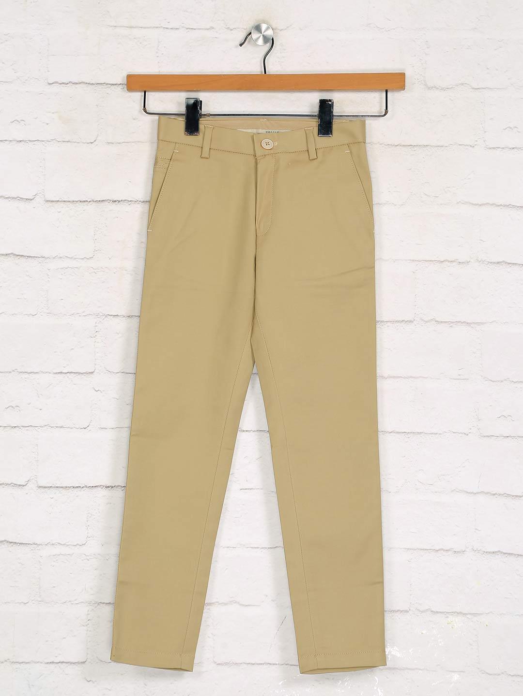 Zillian solid khaki slim fit boys cotton trouser?imgeng=w_400