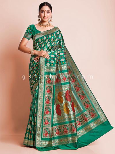 Bottle green designer banarasi silk sari