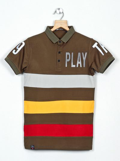 99 Balloon stripe olive slim fit t-shirt