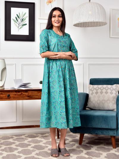 Teal green cotton casual wear printed kurti