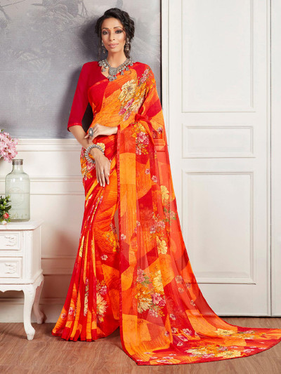 Absorbing orange and yellow printed georgette saree for festive wear