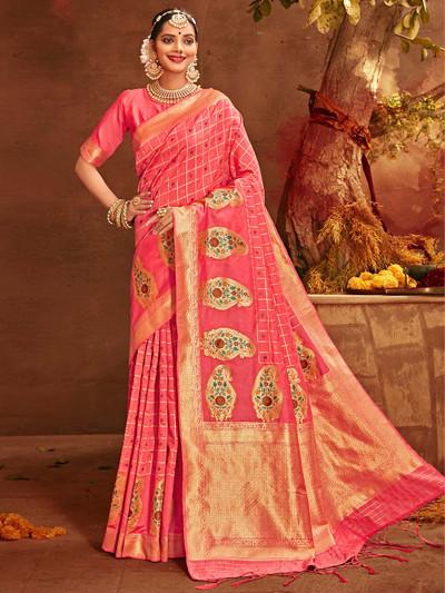 Absorbing pink banarasi silk saree for wedding occasions