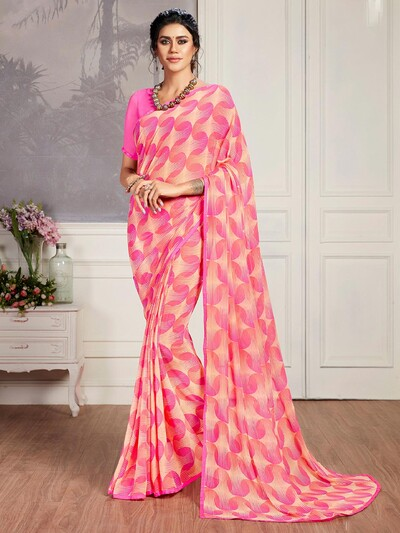 Absorbing pink printed georgette saree for festive wear