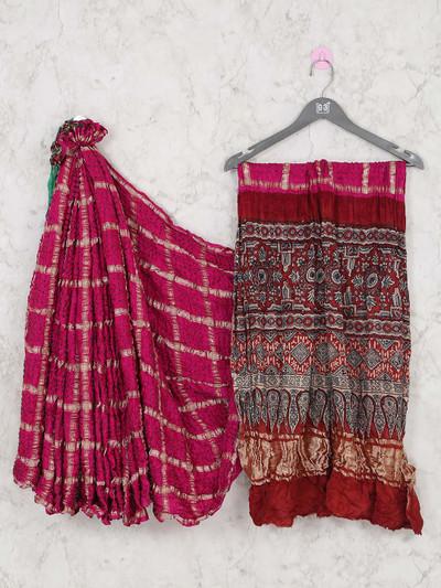 Ajrakh print pullu designer magenta bandhej saree for wedidng