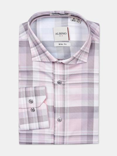 Albino formal wear pink checks shirt