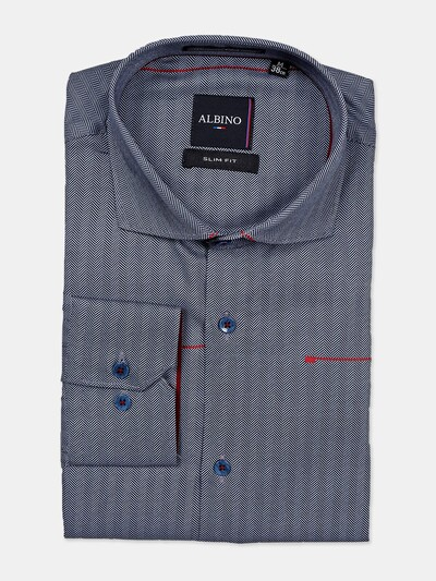 Albino navy cotton formal shirt with stripe patern