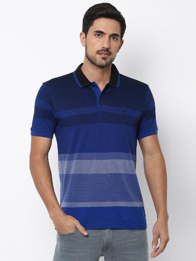 Allen Solly casual wear blue stripe t-shirt